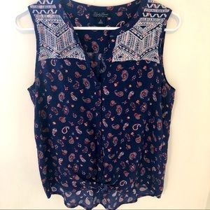 Lucky Brand embroidered paisley knot front tank